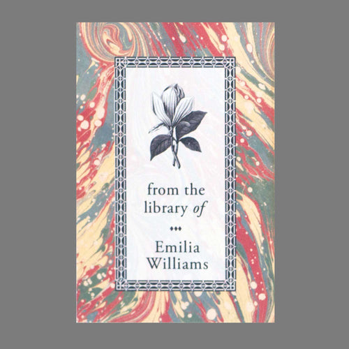 Marbled Bookplate with Flower