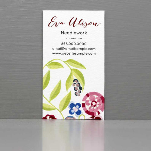 Floral Business Card with Stylized Pink and Green design