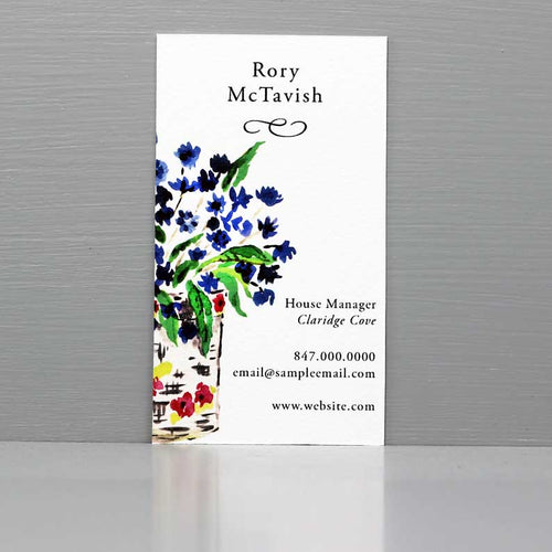 Business Card with Vase of Blue Flowers