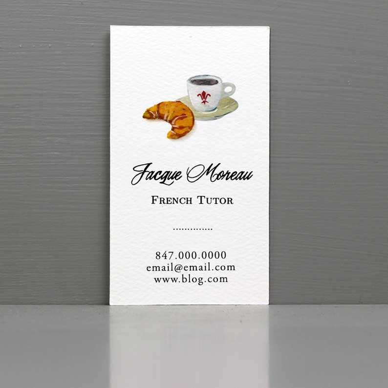 French Tutor Business Card, Pastry Chef Business Card