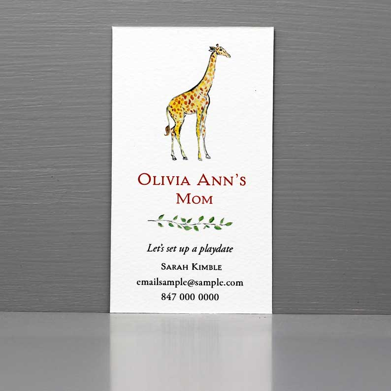 Business Card with Giraffe, Play Date Date Giraffe, Childcare worker