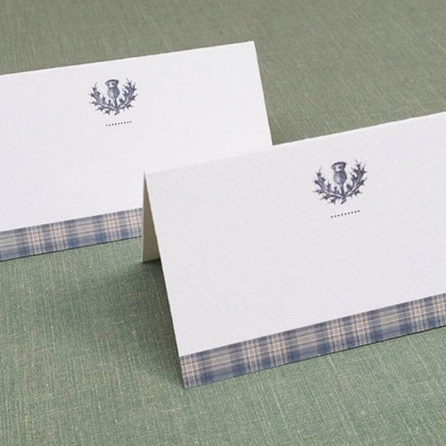 Scottish Thistle Slate Grey Plaid Place Cards