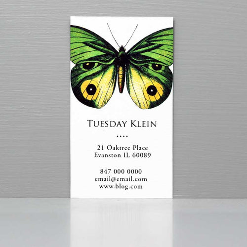 Butterfly Business Card, Green and Yellow Butterfly