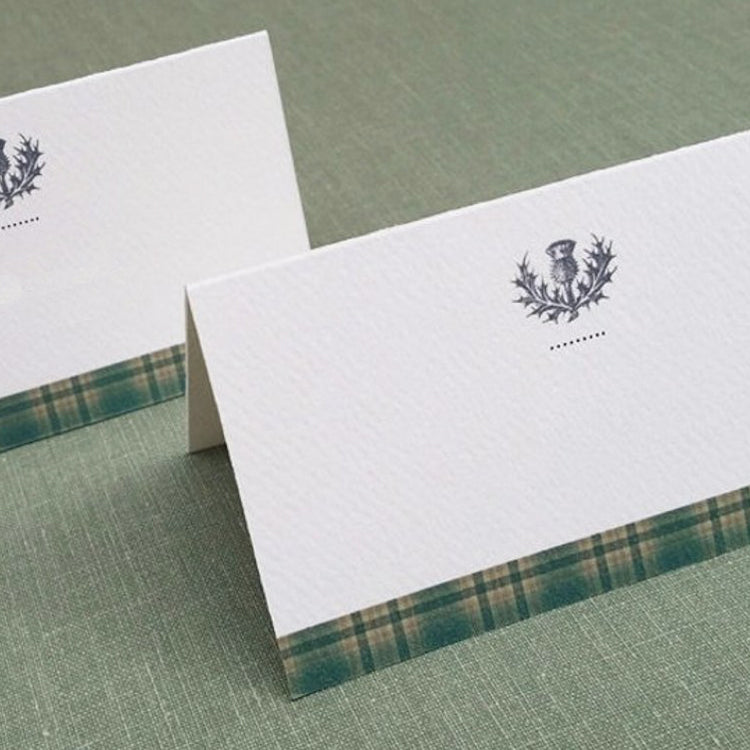 Scottish Thistle Green Plaid Place Cards