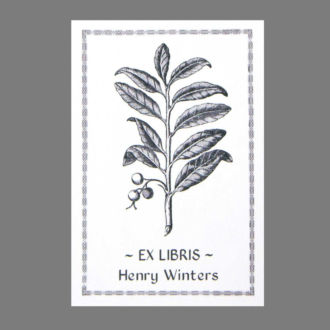 Antique Woodcut Botanical Bookplate