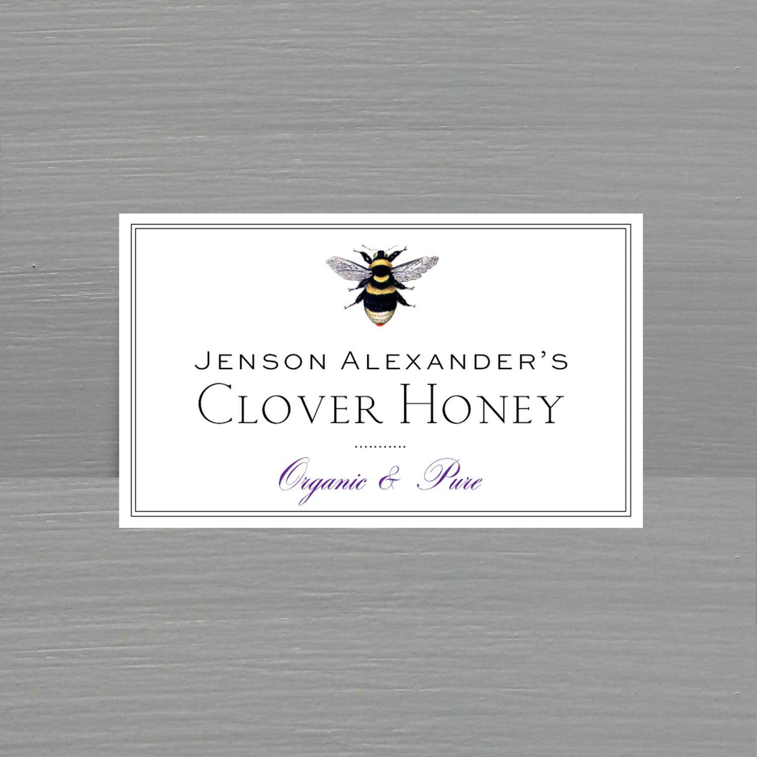 Personalized Honey Label with Antique Bee