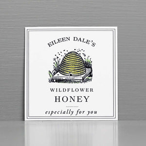 Personalized Honey Label or Tag with Bee Hive