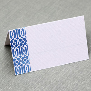 Blue and White Trellis Place Cards, Watercolor style