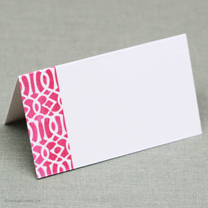 Pink Ikat Place Cards, Set of 12