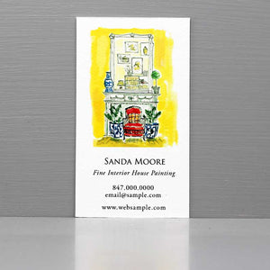 Interior Designer Business Card, French Parlor Interior Scene Business Card