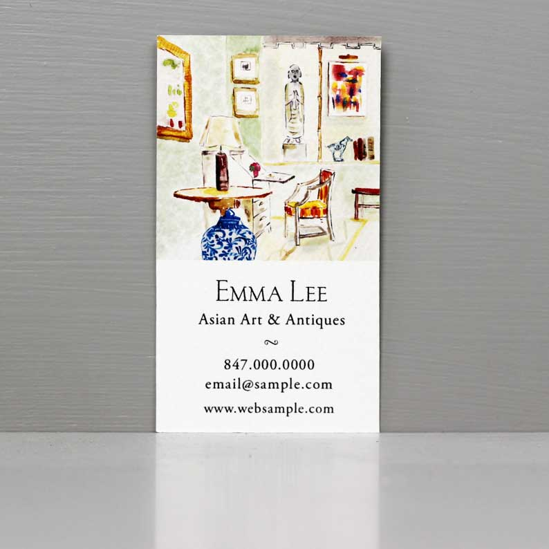 Chinoiserie Interior Scene Business Card
