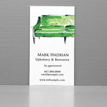 Interior Design Business Card with Green Regency Sofa