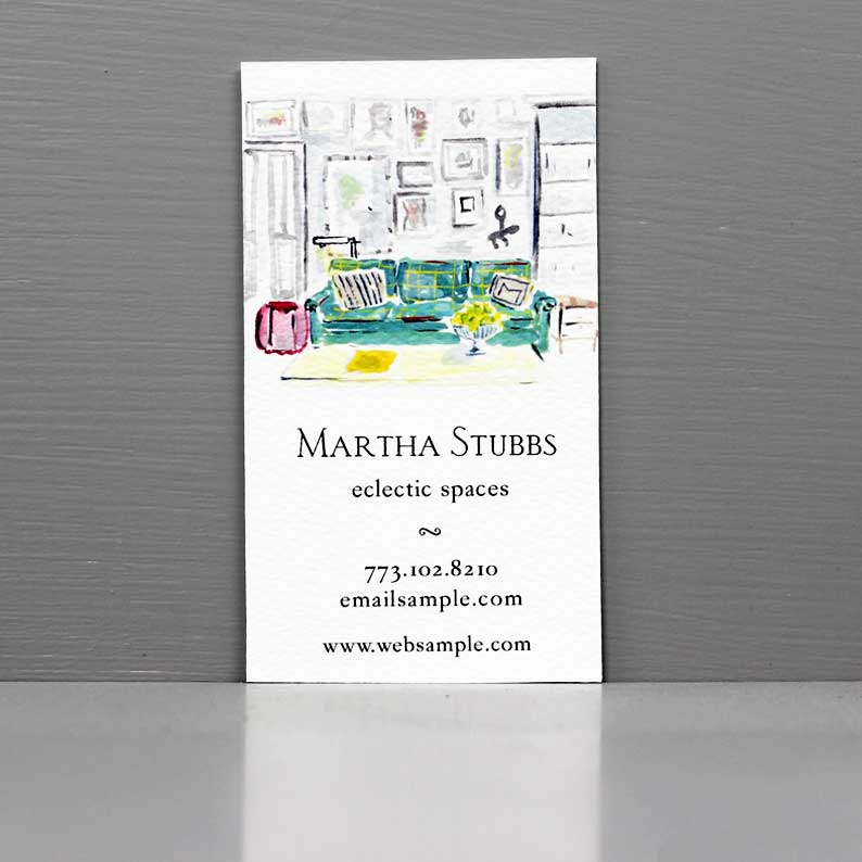 Interior Designer Business Card, Mid-Century living room business card