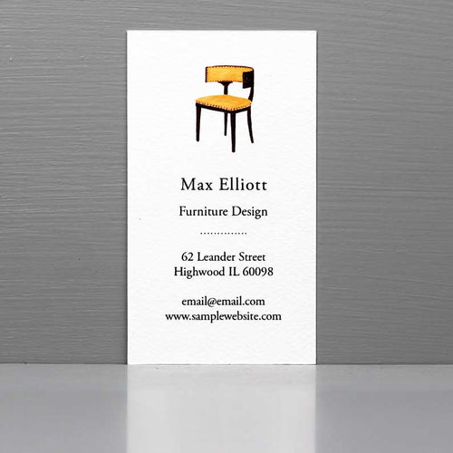 Interior Designer Business Card, Klismos Chair, Vintage Dealer