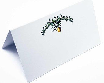Place Cards (INEXPENSIVE) Lemon with Green Leaves