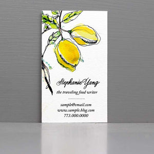 Personalized Business Card with Watercolor Lemon Yellow