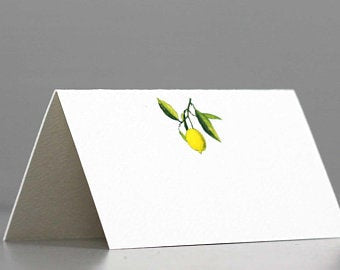 Place Cards with Lemon on Green Leafy Branch