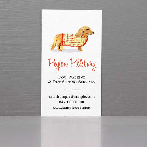 Dog Sitter Business Card, Dog Walker, Long haired Dachshund
