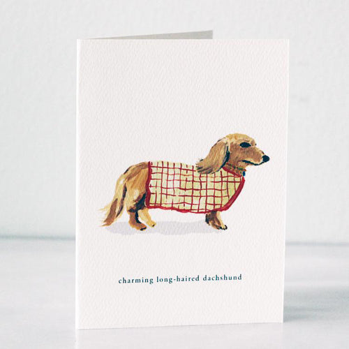 Long-Haired Dachshund Card