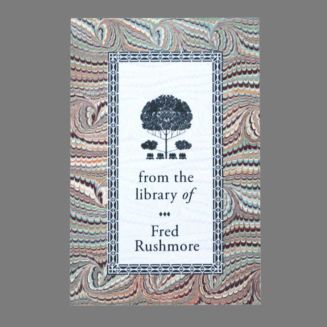 Marbled Bookplate with Arts & Crafts Tree