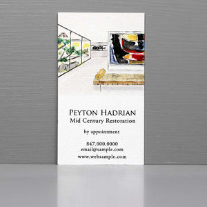 Business Card with Mid Century Interior, Modern Art