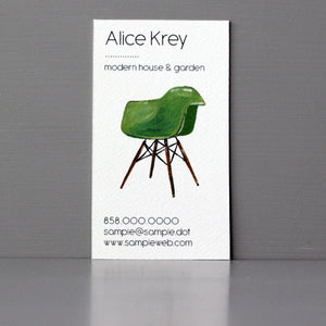 Mid-Century Chair Business Card, Sets of 50