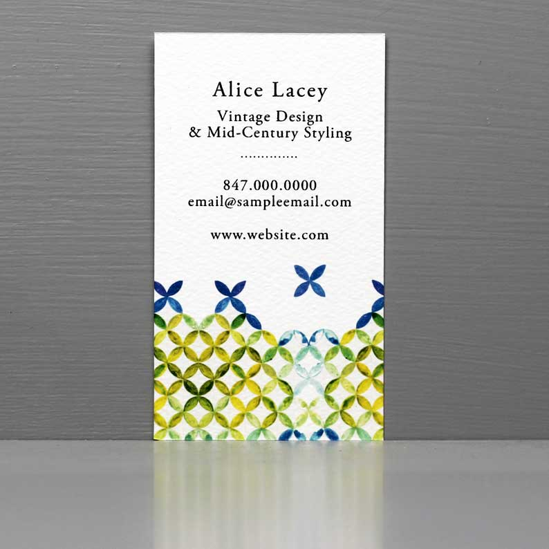 Business Card with Mid Century Pattern, Blue and Green