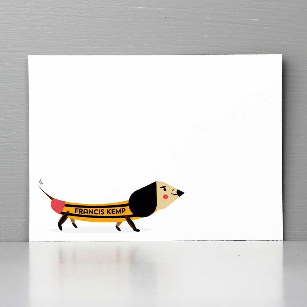 Mid Century Inspired Dachshund 'Pencil' Flat Note Set