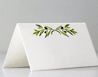 Place Cards with Olives on Branch