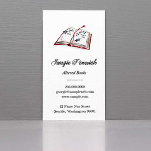 Business Card with Open Book, Business Card for Librarian or Book Dealer