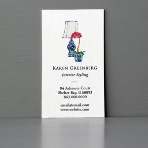 Orchid and Lamp Business Card, Sets of 50