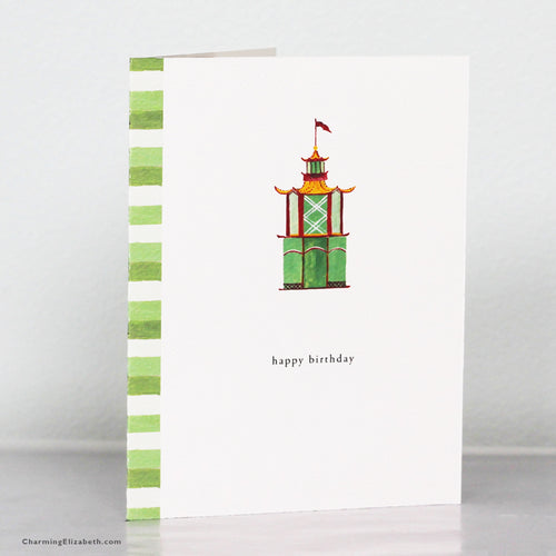 Pagoda Happy Birthday Card
