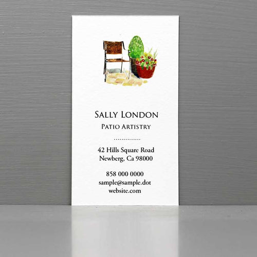 Business Card with Container Plants, Patio Designer, Container Gardner