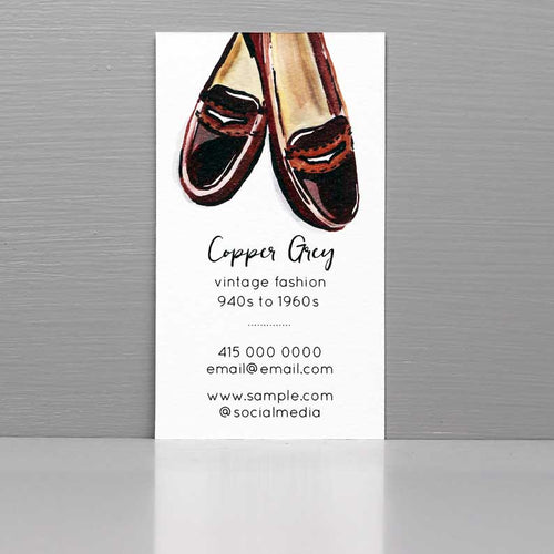 Business Card for Vintage Fashion, Penny Loafers.
