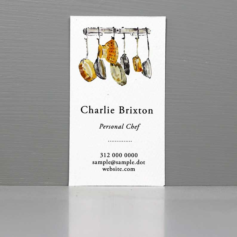 Personal Chef Business Card, Copper Pans, Cooks Card