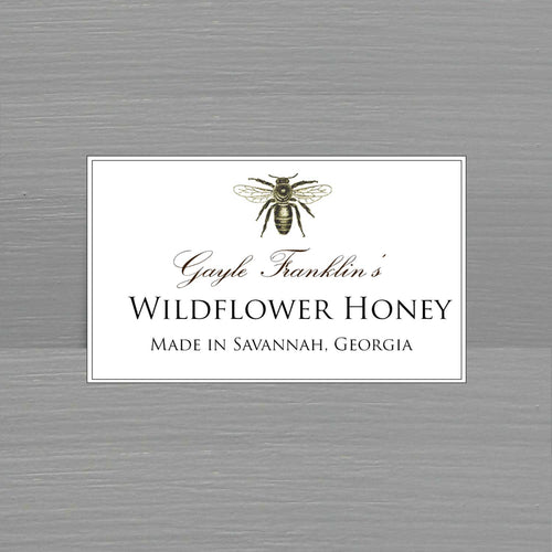 Personalized Honey Label with Elegant Bee