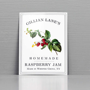 Personalized Raspberry Jam Label, Raspberry Preserves