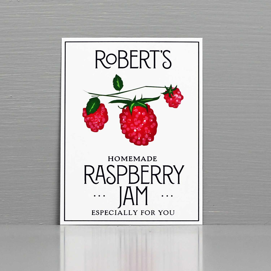 Personalized Raspberry Jam Labels, Personalized Raspberry Preserves Labels