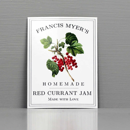 Personalized Currant Jam Labels, Red Currant Canning Labels