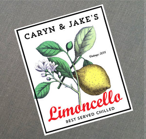 Personalized Retro Style Limoncello Labels or Gift Tag, Set of 18