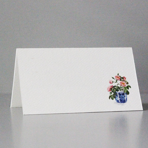 Blue and White Pink flower Place Cards, Set of 12