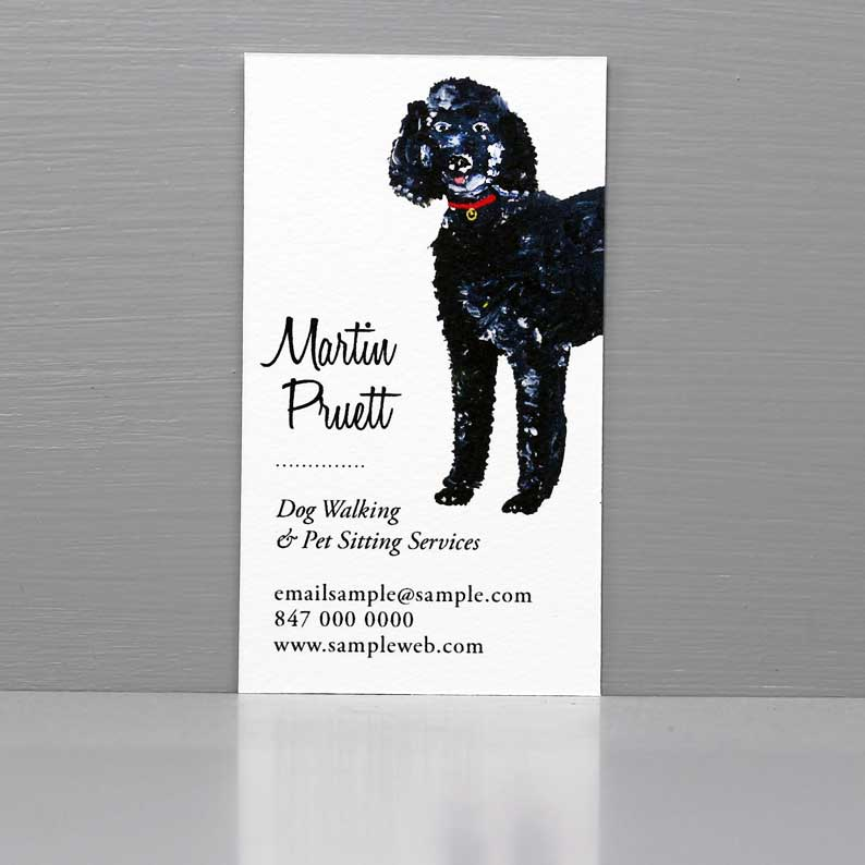 Business Card with Standard Poodle, Dog Grooming Business