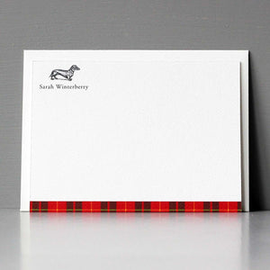 Dachshund Red Tartan Flat Note Set
