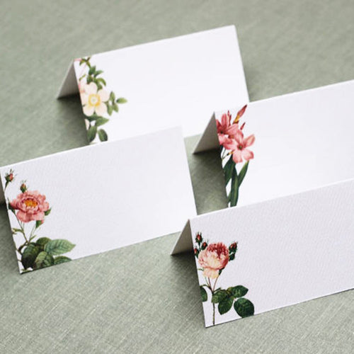 Garden Rose Place Cards, 4 Assorted Designs