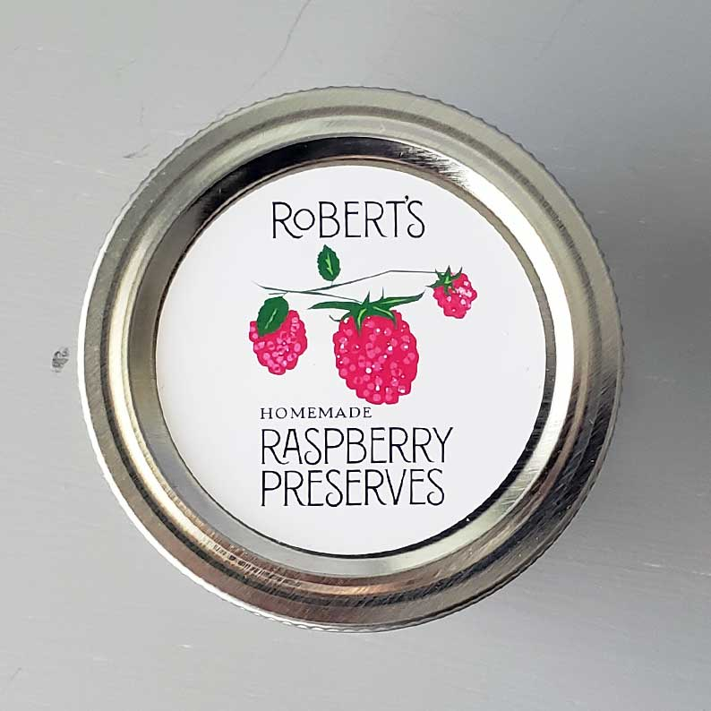 Personalized Raspberry Jam Labels, Raspberry Preserves, Circle Labels