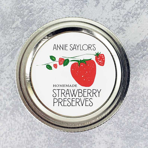 Personalized Strawberry Jam Labels, Strawberry Preserves, Circle Labels