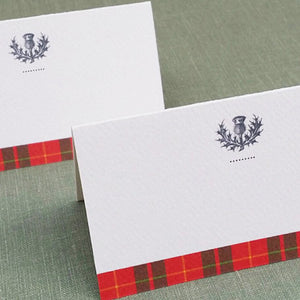 Scottish Thistle Red Plaid Place Cards