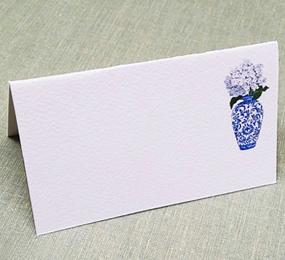 Blue and White Ginger Jar Place Cards with White Flowers, Set of 12