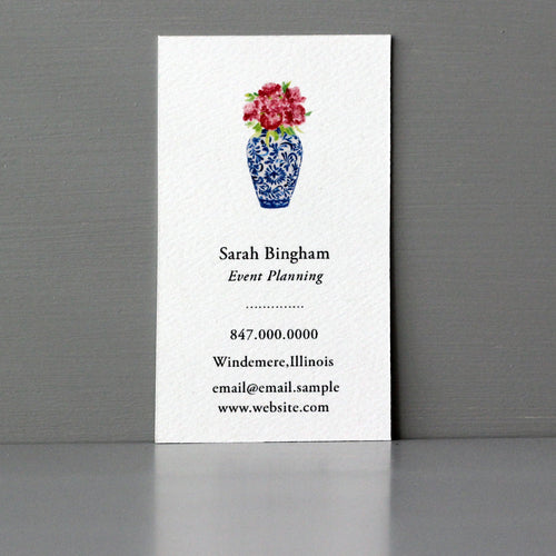 Vase with Flowers Business Card, Sets of 50