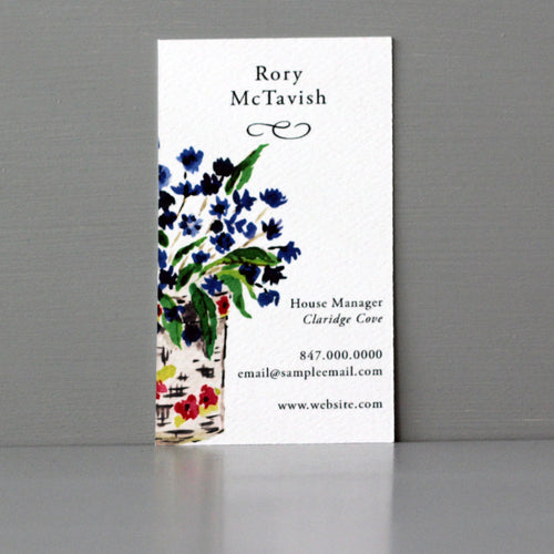 Colorful Vase with Flowers Business Card, Sets of 50